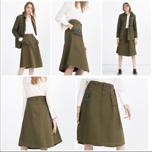 Zara Dresses & Skirts - 🆕NWT Zara army green embroidered denim midi skirt